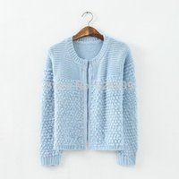 Cheap New Design 2014 Fall Women Vogue Jumper Sweater Candy Color Jacquard Weave Knitwear Casual Long Sleeve Short Style Cardigan CA07