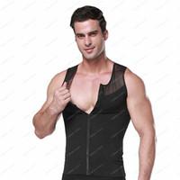 Wholesale 50pcs Slimming Men s Body Shaper Belly Waist Cincher Corsets Undershirt Shapewear Vest zipper T Shirt g