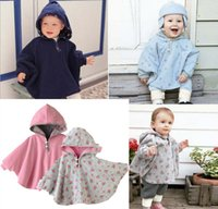baby grand - Simple but grand style Thick warm Double Sided fleece toddler cape hooded baby poncho for girl and boy