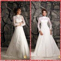 Wholesale 2015 Modest High Neck Long Sleeve Embroidery Lace Islamic A Line Wedding Dresses Muslim Bridal Gowns Custom Made Vestidos De Novia Spring