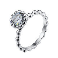 Wholesale Sterling Silver Crystal Transparent Ring European Fine Jewelry Rings For Women Birthday Wedding Anniversary Gift