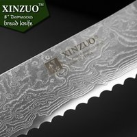 Wholesale XINZUO new quot inch bread knives Damascus steel kitchen knife sharp japanese VG10 cake knife with color wood handle free