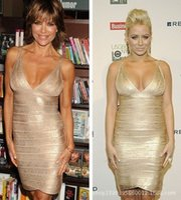 bandages sling - New Sexy Sling Gold Bandage Dress Backless Hot Sale Women Sleeveless Bodycon Party Dresses B