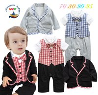 baby product jackets - 2015 Autumn Wear New Products Cotton Romper Suit Jacket Clothing Sets For Newborn Baby Boys Bow Tie Plaid Infant Outfits K629