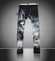 laurent - 2015 Hot Fashion D printing sale Saint Laurent men s black ink was thin Slim pants feet jeans