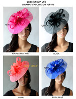Wholesale NEW ARRIVAL Big Sinamay fascinator hat with feather flower for Melbourne cup kentucky derby wedding fuchsia royal wheat black