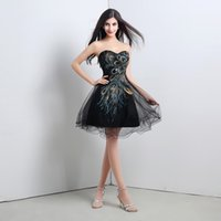 Cheap Cheapest!!! 2015 Black Peacock Prom Dresses Short Tulle A-Line Sweetheart Sequins Embroidery Special Homecoming Dress Lace-up Newest Dresses