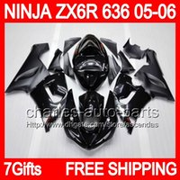 kawasaki zx6r fairings - 7gifts Tank Cover ALL black Fairing Kit For KAWASAKI NINJA ZX R ZX636 ZX6R ZX R stock flat glossy black Bodywork