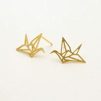 baby swallow earrings - 10Pair S011 Gold Silver Origami Crane Stud Earrings Baby Paper Crane Bird Earrings Stud Little Swallow Earrings Animal jewelry