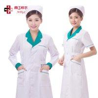 adult nurse uniforms - Lab Coat Nurse Working Uniform In Medical Hospital Collar Women Woven Cotton Surgical Cap Jalecos Buy one get a nurse cap