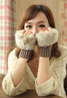 Wholesale Fashion Girls Warm Gloves Colors Winter Gloves Women Elbow Gloves with Animal Hair HT002