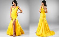 chiffon pageant gowns - Pageant Celebrity Dresses Sheath One shoulder Sweetheart Side of the split Rhinestone Ruched Chiffon Hot Sale Formal Party Gowns