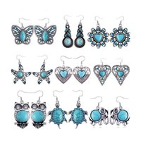Wholesale Bohemian Vintage Silver Plated Crystal Owl Eyes EarringTurtle Love Butterfly Starfish Turquoise Earrings E1354 E1226