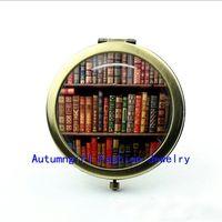 best bookshelf - New Arrival Bookshelf Pocket Mirror Vintage Compact Mirror Hand Pocket Mirrors Book Lover Best Gifs
