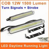 Cheap COB LED DRL Daytime Running Light With Trun Signal Strobe 99 Chip 12W 12V 6500k 200*24mm Car Auto Driving Lamp Fog DRL025