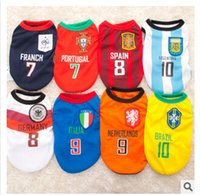 Wholesale Hot Sale Football World Cup Pet Dog Vest BRAZIL Dog Summer Clothes Plus Size XL Polyester Dog Clothing Puppy Supplies Eight Color