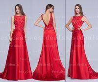 appliques - Designers Red Backless Evening Dresses Vintage Sheer Bateau Lace Applique Beads A Line Prom Dress Arabic Vestidos Evening Gowns BZP0360