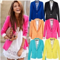 Women's spring coats - 2015 Blazer Suit Spring Women s Fashion Candy Colors with Single Button Ladies Jacket Coat Plus Size Outerwear Lapel Neck Size SX XL