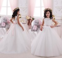 Cheap 2016 Modern Cheap New Flower Girls Dresses For Weddings Lace White Illusion Neck Sashes Bow Party Birthday Dress Children Girl Pageant Gowns