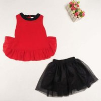 best skirt suits - Brand New Fashion Korean Girl Dress Best Suits Child Clothes Summer Tank Tops Ruffle Skirt Children Set Kids Suit Outfits