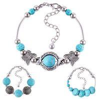 abc butterfly - New Turquoise Tibetan Silver Gemstone Butterfly Beads Bracelet Bangle Adjustable maseta bratara ABC styles