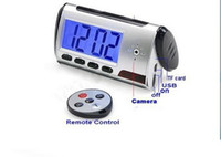 Wholesale Spy Hidden Camera Clock HD Newest Digital Alarm Clock Motion Detector Sound Recorder Digital Video PC With Remote Control For security