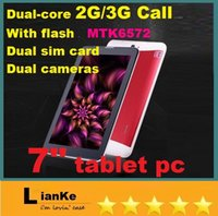 Wholesale 7inch HD Screen x600 Pixel G Phone Call Tablet android MTK6572 Dual Core bluetooth Wifi Dual Camera MB G with dhlfree