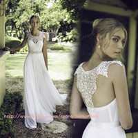t back - New fashion wedding dress with lace beads sheer straps jewel T back A line chiffon bridal gowns