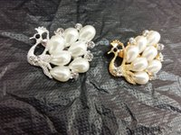 assorted pearl beads - Ladies Girl Fashion Jewelry Broochs Pin Clear Rhinestone Bling Imitation Pearls Bead Royal Swan Clear Crystal Rhinestone brooch assorted