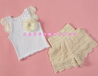 baby boutique shoes - 2016 summer outfits Toddler baby clothing sets girls boutique clothes kid D flower shoes t shirts hollow lace pants ruffle shorts set