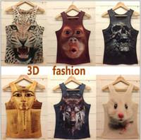 Wholesale Magic New style men tops mens o neck Fashion vest d cotton t shirt D printed t shirts for man model