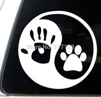 aluminum dog door - human hand dog paw vinyl window decal sticker for car laptop glass nightside and sunny side