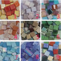 Wholesale 1 cm jade soil color glass mosaic tile for diy hobby project drop shipping