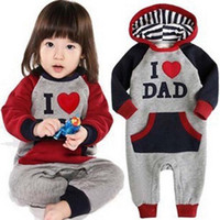 Wholesale NEW Style Cute I Love Mam Dad Baby Kids Girls Boys Children Jumpsuit Outfits Set Playsuit