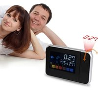 Wholesale Attention Projection Digital Weather LCD Snooze Alarm Clock Projector Color Display LED Backlight