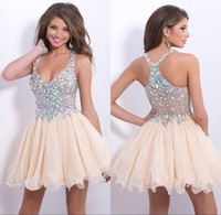 Wholesale cheap new arrival sexy blush prom dresses halter sparkly beaded crystals backless short homecoming cocktail party dresses