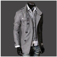 mens overcoats - Fashion Stylish Men s Trench Coat Winter Jacket mens mid long slim Double Breasted Coat Overcoat woolen Outerwear M XXXL NEW ARRIVE hight