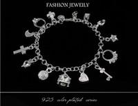 Wholesale Best gift cheap hot Sterling Silver CZ Crystal gemstone fashion jewelry cross moon charms silver women bracelet