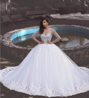 best wedding gown designers - 2016 Long Sleeves Bridal Gown Wedding Dresses Best Designer Tulle Appliques Robe De Mariee Illusion with Sash Spring Summer