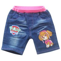 Wholesale Paw Dog Girls Cartoon Summer Shorts Kids Embroider Jeans Pants Pink Children Clothes