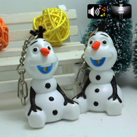 Wholesale New Frozen Olaf LED Luminous Voice Keychain Key Ring Pendant KY226