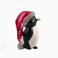 Wholesale Christmas Broches - 2015 Broches Fashion Lovely Little Penguin Brooch Christmas Jewelry Alloy Enamel Crystal Balls Luxury Hat Penguin Brooch [GE07115*6]