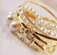 baby pearl stretch bracelets - Beautiful Bracelets Ms Multi layer metal baby elephant pearl stretch bracelet B459