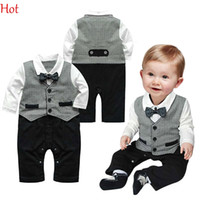 Wholesale Boy Baby Infant One piece Gentleman Clothes Formal Necktie Suit Party Romper Long Sleeve Baby Clothing Buttons Grey Jumpsuite Hot SV011482