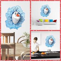 decorative glass art - Hot Sale Children PVC Cartoon Snowman Olaf Baby Large Wall Stickers Nursery Room Decorative Wall Art Decal Poster Home Glass Door Decoration