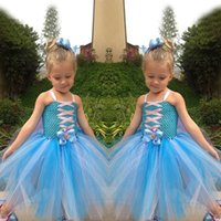 Wholesale Preorder Frozen Children Girls Suspender Tutu Dresses Kids Clothing Elsa Anna Ribbon Dress Childs Tulle Butterfly Hollow Dressy H1516