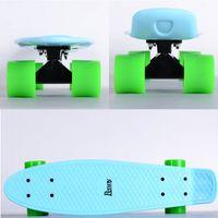 Wholesale 22 inch Mini Cruiser Skateboard with Ice Blue Decks Black coating Trucks and Green Wheels cruiser board