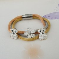 Wholesale 2015 New Fashion Charming Star Flower Bear Bracelet K Gold Stainless Magnetic Multilayer Cable Mesh Oso Bear Bracelet Pulseras Jewelry