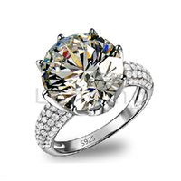 Wholesale HOT S925 sterling silver big diamond ring gold jewelry classic engagement ring for women wedding accessories size LSR064