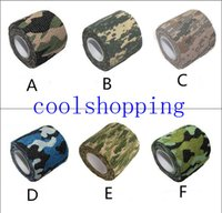 Wholesale DHL Freeshipping Mix color self adhesive elastic bandage Army Camo Wrap Rifle Shooting Hunting Camouflage cohesive Tape m